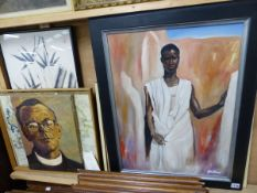 GINA DRIVER (CONTEMPORARY) ARR. PORTRAIT OF AN AFRICAN GENTLEMAN SIGNED OIL ON CANVAS, TOGETHER WITH