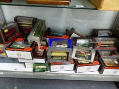 A QUANTITY OF GILBOW AND CORGI DIE CAST VINTAGE BUS MODELS, BOXED.