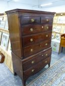 AN EARLY 19th C. MAHOGANY CHEST ON CHEST.