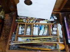 A ARTISTS PAINT BOX AND BRUSHES.