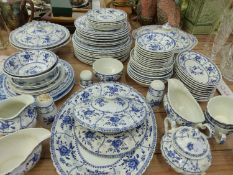 AN JOHNSON BROTHERS BLUE AND WHITE PART DINNER SERVICE.