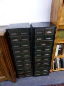 A PAIR OF INDUSTRIAL SMALL INDEX FILE CABINETS.