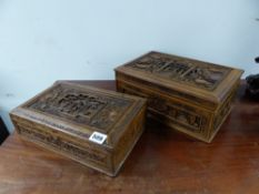 TWO CHINESE HARDWOOD BOXES, BOTH RECTANGULAR LIDS CARVED CENTRALLY WITH A VIGNETTE OF FIGURES