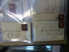 """""""PENNY RED"""" COVERS, 1841-1842. ALL WITH BLACK MALTESE CROSS CANCELLATIONS AND ORIGINAL LETTERS (7)."""