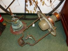 TWO VINTAGE GAS STREET LIGHT FITTINGS LARGEST 76 CM HIGH