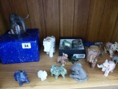 A QTY OF DECORATIVE ELEPHANT ORNAMENTS, INC. DANSK DESIGNS, SELENGOR ETC.