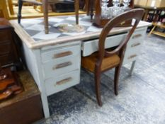 A PAINTED OAK EARLY 20th C. WRITING DESK.