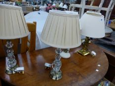 FIVE VARIOUS TABLE LAMPS WITH SHADES.