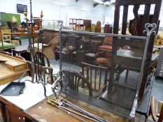 A SET OF VICTORIAN FIRE IMPLEMENTS, A WROUGHT IRON FIRE SCREEN AND FURTHER FIRE SIDE TOOLS.