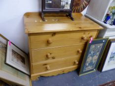 A SMALL PINE THREE DRAWER CHEST.