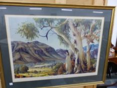AFTER HANZ, HEYSEN, TWO COLOUR PRINTS OF AUSTRALIAN LANDSCAPES.