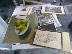 A GROUP OF ANTIQUE ENGRAVINGS AND AN OIL PAINTING, STILL LIFE OF PEARS.