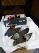 A LARGE QUANTITY OF TABLE LINENS, TEXTILES AND COSTUME, INC. A MINK COAT, AND MIDDLE EASTERN SHOES.