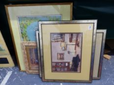 W DAVIES, AN INTERIOR SCENE SIGNED OIL ON BOARD, TOGETHER WITH TWO OTHERS BY THE SAME HAND AND A
