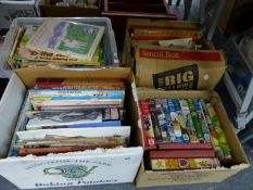 FOUR BOXES OF VARIOUS CHILDREN'S BOOKS ETC.