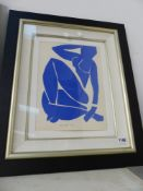 AFTER MATISSE, BLUE NUDE, 35 X 25cms.