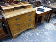 A MARBLE TOP WASHSTAND AND A SMALL CHEST OF DRAWERS.