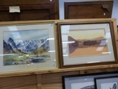 E, GREIG HALL ( 20TH CENTURY ARR. ) A HIGHLAND VIEW SIGNED WATERCOLOUR 38 X 56 CM TOGETHER WITH