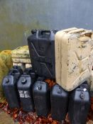 A QUANTITY OF JERRY CANS.