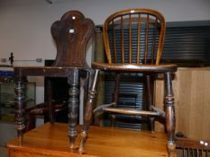 A VICTORIAN HALL CHAIR AND A WINDSOR SIDE CHAIR.