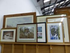 A LARGE PICTURE OF A HUNT SCENE TOGETHER WITH VARIOUS PHOTOGRAPHS OF ANIMALS, LANDSCAPES ETC.