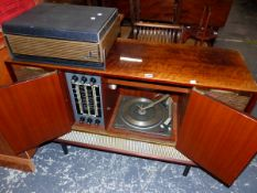 A VINTAGE RADIOGRAM WITH GARRARD RECORD DECK AND A GRUNDIG TAPE PLAYER.
