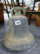 A LARGE ANTIQUE BRONZE BELL.