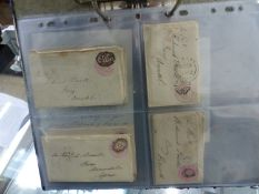 """VICTORIAN """"PENNY PINK"""" STATIONERY ENVELOPES WITH ORIGINAL LETTERS INSIDE. 1842-1891 (12)."""