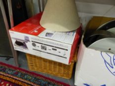 WINDOW BLINDS, HANGING LIGHTS, HOUSEHOLD WARES, MP3 RECORD DECK, PICK NICK HAMPER, LAMPS, FIRE IRONS