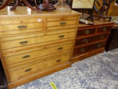 A VICTORIAN ASH CHEST OF DRAWERS, A WALNUT EXAMPLE AND AN EDWARDIAN INLAID SMALL CHEST.