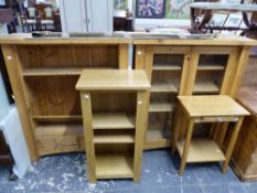TWO PINE CABINETS AND TWO MODERN STANDS.
