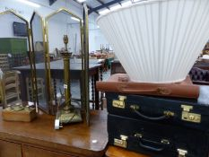 THREE BRIEF CASES, A TABLE LAMP, BRASS WEIGHTS ETC.