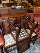 A GLOBE WERNICKE TYPE THREE TIER BOOKCASE AND THREE OAK SIDE CHAIRS.