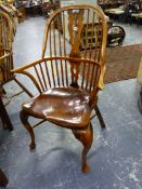 A SET OF EIGHT BESPOKE BEECH AND ELM WINDSOR ARM CHAIRS ON CABRIOLE FORELEGS, WITH CRINOLINE