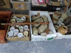 TWO VINTAGE STORM LAMPS, SIX STONEWARE HOT WATER BOTTLES, KITCHEN JARS ETC.