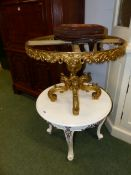 A SMALL WHITE PAINTED OCCASIONAL TABLE TOGETHER WITH A GILT METAL LOW TABLE BASE AND A SMALL STOOL