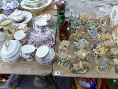 A COLLECTION OF LILLIPUT LANE AND OTHER COTTAGES, A DOULTON JUG, TEA WARES ETC.