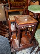 A SMALL ORIENTAL HARD WOOD URN STAND, A SWING MIRROR, TWO TABLES AND A STOOL.