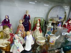 THIRTEEN ROYAL DOULTON FIGURINES, A WORCESTER FIGURE, MOORCROFT COFFEE CAN AND SAUCER, A FISH