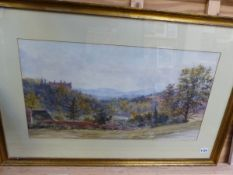 A LARGE 19th C. LANDSCAPE WATERCOLOUR 36 x 66cms, TOGETHER WITH A MARSHLAND PASTEL BY SIMON MARSH, A