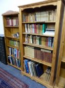 TWO PINE BOOK CASES.