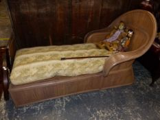 A BENTWOOD DAY BED WITH FEATHER SQUAB.