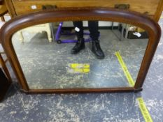A VICTORIAN INLAID OVER MANTLE MIRROR, AND AN EDWARDIAN ASH THREE DRAWER CHEST.