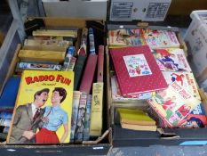 TWO BOXES OF VINTAGE BOOKS TO INCLUDE SCHOOL GIRLS OWN LIBRARY, ENID BLYTON, 1959 ANNUAL RADIO