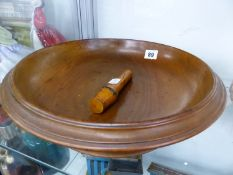 A LARGE WALNUT FRUIT BOWL,AND A TREEN NEEDLE CASE.