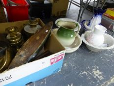 TWO OIL LAMPS, A MODEL POND YACHT, VARIOUS WASH JUGS AND BASIN SETS ETC.