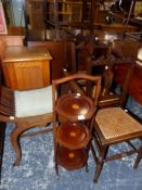 AN EDWARDIAN DRESSING STOOL, THREE SIDE CHAIRS, A BESIDE CABINET, AND A CAKE STAND.