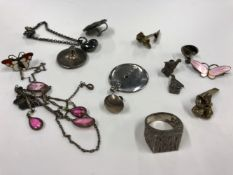 THREE STERLING SILVER AND ENAMEL NORWEGIAN BROOCHES, TWO SIGNED OPRO, ONE NORWAY, TOGETHER WITH A
