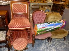 A VICTORIAN BUTTON BACK ARM CHAIR, SIMILAR SIDE CHAIR, A PIANO STOOL AND TWO NURSING CHAIRS.