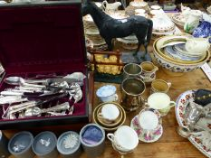 A BRONZED SCULPTURE OF A HORSE, VARIOUS CHINA WARES INC. BELLEEK, TWO PART CUTLERY SETS, SWAROVSKI